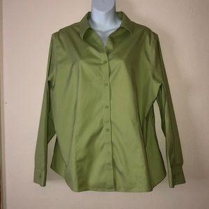 Chico's green button down shirt